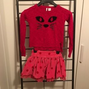 cat sweater and pink skirt as a set